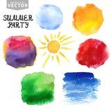 plaskar vattenfärg Sommar ferieuppsättning brigham Arkivfoto