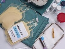 Free Plasma Bag With Antibodies From People Cured Of SARS-COV-2 Covid-19 Prepared In A Hospital Stock Photo - 178767200