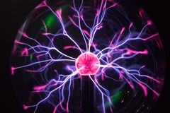 Plasma ball in action. Space for text Royalty Free Stock Photography