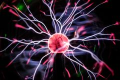 Plasma ball in action. Space for text Stock Photo