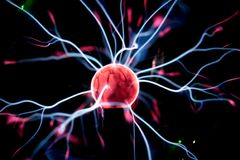 Plasma ball in action. Space for text Royalty Free Stock Photo