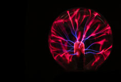 Plasma ball energy. Isolated on black background royalty free stock photo