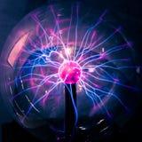 Plasma ball rays in the dark.  stock image