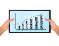 Plasma with chart in hands Royalty Free Stock Photo