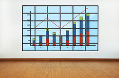 Plasma with chart. On wall in office Royalty Free Stock Photo