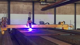 Plasma cutter at steel factory Royalty Free Stock Images