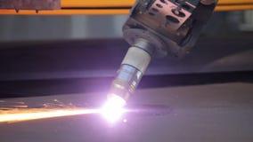 Plasma cutting of metal sheet. The metal cutting machine plasma stock video footage