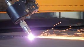 Plasma cutting of metal sheet. The metal cutting machine plasma stock video