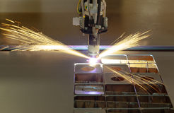 Plasma cutting process Stock Image