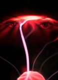 Plasma eyes. Closeup of womans eyes overlaid with plasma abstract Stock Images
