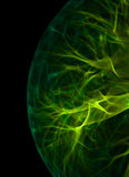 Plasma Green Rays. Fragment of a plasma light ball Royalty Free Stock Photo