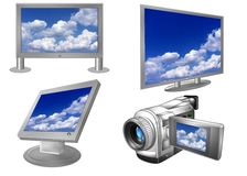 Plasma or LCD screens. A collection of illustrations of various uses for plasma or LCD technology for computer monitors, televisions and camcorders Stock Images