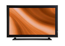 Plasma lcd tv. On a white beackground with a orange abstract design Stock Images
