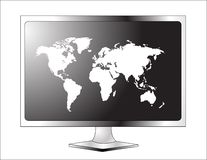 Plasma LCD TV with world map Stock Photography