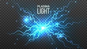 Plasma Lichte Vector Twee kabels met verlichting Energieeffect Blauwe Vonkenbout Realistische Geïsoleerde Transparante Illustrati vector illustratie
