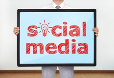 Plasma met sociale media royalty-vrije stock afbeeldingen