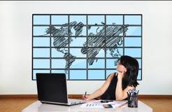 Plasma met wereldkaart royalty-vrije stock foto