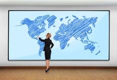 Plasma met wereldkaart stock afbeelding