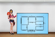 Plasma panel with blueprint Stock Photo