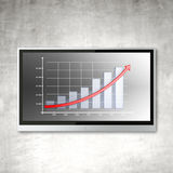 Plasma panel with chart. On concrete wall Stock Photography