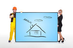 Plasma panel with house Royalty Free Stock Images