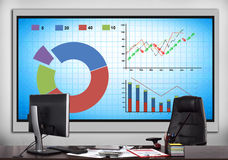 Plasma panel with stock chart. Office with plasma panel with stock chart Royalty Free Stock Photography