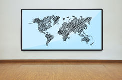 Plasma panel with world map Stock Photography