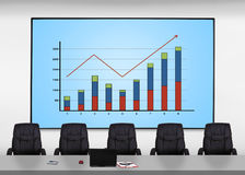 Plasma screen with chart Royalty Free Stock Images
