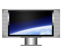 Plasma screen tv with earth. An illistration of a wide screen plasma television with image of the earth from orbit on the screen Stock Photography