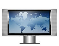 Plasma screen tv with map. An illistration of a wide screen plasma television with image of a world map on the screen Royalty Free Stock Image