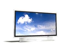 Plasma tv. Isolated huge plasma tv with white background Stock Photo