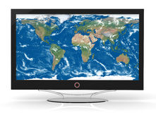 Plasma TV. With an image map of the world Stock Image