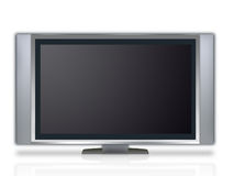 Plasma tv. With speakers isolated on white Stock Photography