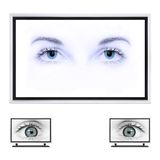 Plasma TV. 3d generated...eyes from digital photo stock image