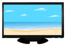 On plasma of TV the beach image Stock Images