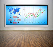Plasma tv with chart and air travel plan Royalty Free Stock Photos