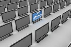 Plasma TV che si leva in piedi fuori Fotografia Stock