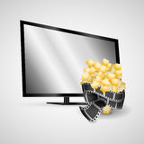 Plasma tv modern film strip pop corn. Illsutration eps 10 Royalty Free Stock Photos