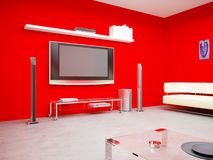 The plasma TV in a red interior Stock Images