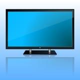 Plasma TV set. A plasma TV set icon with reflection on blue background Stock Photography