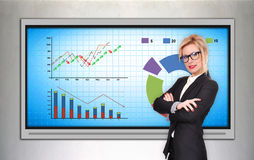 Plasma tv with stock chart Stock Photo