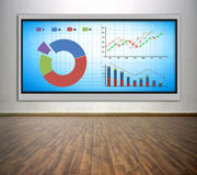 Plasma tv with stock chart Royalty Free Stock Photo