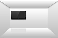 A plasma tv on the wall reflected on the floor. Abstract black blank cable cinema definition design royalty free illustration