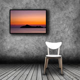 Plasma TV on the wall of the room with empty chair. Plasma TV on the wall of the room with wooden floor and empty chair Stock Photos