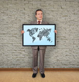 Plasma with world map Stock Images