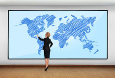 Plasma with world map Stock Image