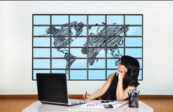 Plasma with world map Royalty Free Stock Photo