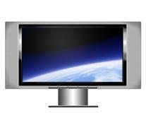 Plasmabildschirmfernsehapparat mit Erde Stockfotografie