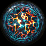 Plasmaboll med trådar av elektricitet Arkivfoto