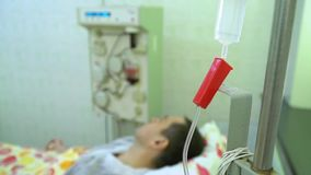 Plasmapheresis. Cleaning the patient`s blood through the device. The process of removing blood plasma from the stock video footage